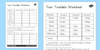 Train Timetable Worksheet - australia, train timetable, worksheet