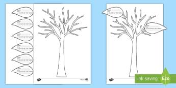 Ficha de actividad: Todo sobre mi familia - Árbol genealógico - árbol genealógico, árbol familiar, recortar, punzar, pegar, ficha de actividad, ficha, árbol, fa