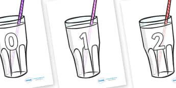 Numbers 0-100 on Milkshakes - 0-100, foundation stage numeracy, Number recognition, Number flashcards, counting, number frieze, Display numbers, number posters
