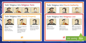 Tudor Religious Acts Display Posters - Elizabethan Religious Settlement, Protestant, Catholics, Anglicans, compromise, Mary I, reforms, Hen
