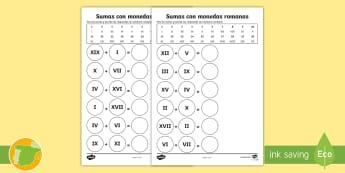 Fichas de actividad: Sumas con monedas romana - historia, dinero, sumar, adición, numeración romana, ,Spanish