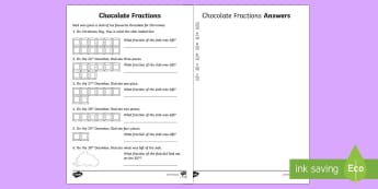 Chocolate Fractions Worksheet / Activity Sheet - farctions, christmas, food, chocolate, subtracting fractions, worksheet