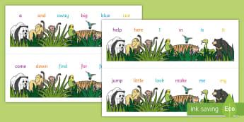 Animal Themed Dolch Pre-Primer Word Strips Desk Mat - Roald Dahl Combined Number Alphabet Strips - key vocab, preprimer, pre prmier, pre primar, desk mat,
