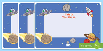 Space Themed Class Welcome Display Sign English/French - Space Themed Editable Class Welcome Signs - space, space themed welcome signs, space welcome signs,