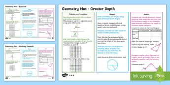 Year 6 Geometry Differentiated Maths Mats - Assessment, Symmetry, Coordinates, Reflection, Angles, Translation