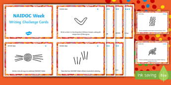NAIDOC Week Writing Challenge Cards - Australia, History, Aboriginal, Indigenous, Day of Mourning, Writing activities, task cards,Australi