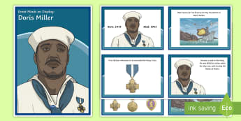 Doris Miller Diverse Minds on Display Pack - black history, WWII, World War Two, biographies, medals, Pearl Harbor, Pearl Harbour
