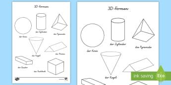3D Formen Anmalbilder - Mathe, Geometrie, Figuren, Flächen, Körper, Malen, Ausmalen, ,German