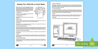 Keeping Your Child Safe on Social Media Parent and Carer Information Sheet - internet safety, teenagers, technology, facebook, snapchat, instagram
