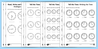Tell the Time Differentiated Worksheet / Activity Sheets Maths Resource Pack - Tell the time to the hour and half past the hour and draw the hands on a clock face to show these ti