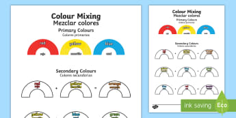 Colour Mixing Activity English/Spanish -  colour, mixing, activity, sheet, colourmixingn, worksheet, EAL, Spanish