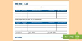 SEN CPD Log Adult Guidance  - SENCo, Handbook, Secondary, record, training, teacher