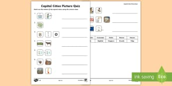 KS2 Capital Cities Picture Quick Quiz - geography, around the world, emojis, capitals, cities.