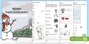 Year 1 Winter English Activity Booklet - holding activity, filler, homework, christmas holidays, Seasons, Spelling, Grammar, Punctuation, Com