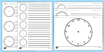 Cadrane de ceas în alb - Fișă de lucru