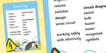 Year 6 Electricity Scientific Vocabulary Poster - posters, words