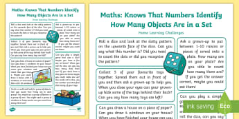 EYFS Maths: Knows That Numbers Identify How Many Objects are in a Set Home Learning Challenges - Mathematics, number, count, counting, group, set, amount, home learning, home school links, EYFS, ho