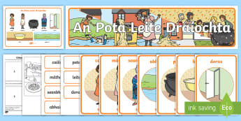 The Magic Porridge Pot Resource Pack Gaeilge - An Pota Leite Draíochta The Magic Porridge Pot Gaeilge, máthair, cailín, seanbhean, leite, pota,