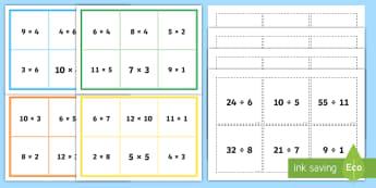 Equivalent Multiplication and Division Number Sentence KS2 Bingo - Inverse, relationship, Number Sentences, cards, game