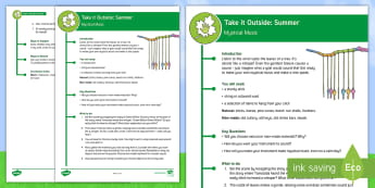 KS2 Take It Outside: Summer Mystical Music Activity - Forest School, Nature Detectives, wind chime, natural material, listening, Man-made, outdoor, woodland learning, twinkl outdoor and woodland learning owl get it