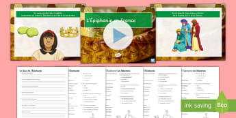 Epiphany in France Differentiated PowerPoint Pack - celebrations, galette, kings Cake, festivals, quiz,French