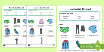 How To Get Dressed Procedure Writing Sample - Literacy, australian curriculum, writing, text types, types of text, procedures, writing sample, rea