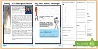 KS2 Dorothy 'Dottie' Metcalf Lindenburger Differentiated Reading Comprehension Activity - space week, biography, astronaut, discovery, space travel, space history.