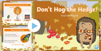 Don't Hog the Hedge! Rhyming Activity PowerPoint - Twinkl Originals, Fiction, Autumn, Hibernate, Woodland, Animals, rhymes, rhyming pairs, shared sound