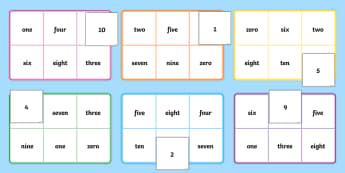Number & Words Bingo (0-10) - number game, bingo, 0-10, Number names, Number words, Numerals, Foundation Numeracy, Number recognition, Number flashcards, numeracy, numbers, number names, numbers to 10, 1-10, bingo