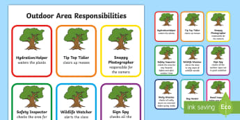 Outdoor Responsibilities Badges - CfE Outdoor Learning, nature, forest, woodland, playground, responsibilities, jobs, badges,Scottish