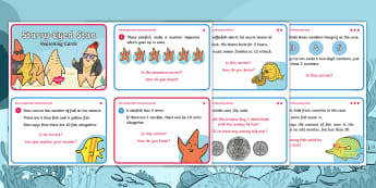 Starry-Eyed Stan Year 1 Reasoning Maths Challenge Cards - Twinkl Originals, Fiction, under the sea, seaside, sealife, beach, oceans, KS1, Problem solving, Cal