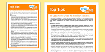 Using Twinkl Create for Transition Activities Top Tips