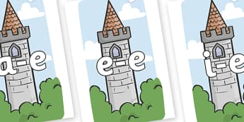 Modifying E Letters on Towers - Modifying E, letters, modify, Phase 5, Phase five, alternative spellings for phonemes, DfES letters and Sounds