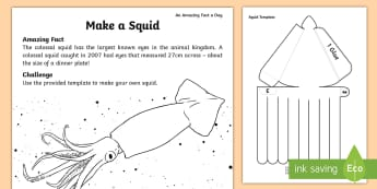 Make a Squid Paper Craft - july amazing fact, craft activities, under the sea, sea creatures, amazing fact