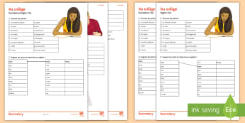 School Differentiated Activity Sheet French - education, study, revision, subjects, pupils, Worksheets