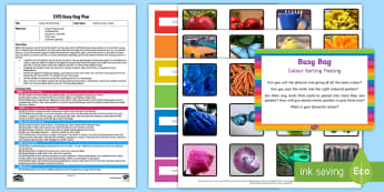 EYFS Colour Sorting Posting Busy Bag Plan and Resource Pack - EYFS, Sorting, mathematics, shape space measure, beginning to categorise objects according to proper