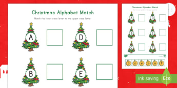 Christmas Alphabet A-F  Match Activity Sheet - Letter Recognition, Alphabet Recognition, Lowercase and uppercase matching, cutting skills, visual d