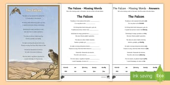 Falcon Poem Missing Words Activity Sheet - Science: Living World, falcon, poem, English, Literacy, poster, display, rhyme, UAE, middle east, mi