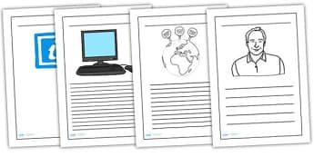 Tim Berners Lee Writing Frame - tim berners lee, colour and write, writing frames, writing template, writing guide, line guide, writing aid, lined guides