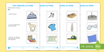 How Materials Are Made Matching steps Activity Sheets - clothing, material, how materials are made, clothes, sheep, cotton, plant, harvest, linen, nylon,