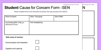 Student Cause for Concern Form SEN - student, cause for concern form, cause for concern, form, sen