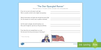 The Star-Spangled Banner Poem - National Anthem, Poetry Comprehension, Francis Scott Key, Flag Day, Fourth of July, Independence Day