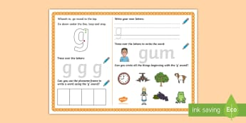 UAE EY 'g' Sound Activity Mat - Letters and Sounds, grapheme, phoneme, satpin, letter formation, handwriting, EYFS, Development matt