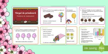 Târgul de primăvară - Cartonașe cu probleme - primavara, adunare, scadere, inmultire, impartire, înmulțire, împărțire, scădere, operații, o