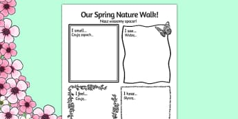 Our Spring Nature Walk Writing Frame Polish Translation - polish, spring, nature, walk
