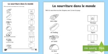 Feuille d'activités : La nourriture dans le monde - alimentation, culture, international, typique, cycle 2,French