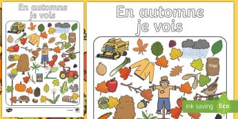 Feuille d'activité : En automne je vois - Saison, deviner, images, équipes, cycle 1, cycle 2