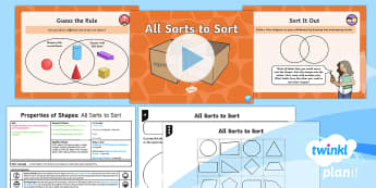 * NEW * PlanIt Maths Y2 Properties of Shapes Lesson Pack Comparing and Sorting (1)  - Venn diagram, sorting, 2D shape, using and applying, maths mastery, concrete, abstract, pictorial, l