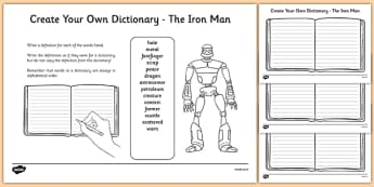 The Iron Man Key Vocabulary Create Your Own Dictionary-Scottish