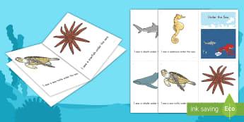 Under the Sea Emergent Reader - Ocean, Beach, Sea, Ocean Animals, sea animals,